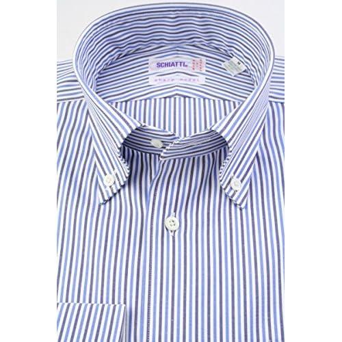 (スキャッティ) SCHIATTI 白地 ブルー系 オルタネートストライプ 綿100% 80番手双糸 ボタンダウン (細身) ドレスシャツ bd4190-3882