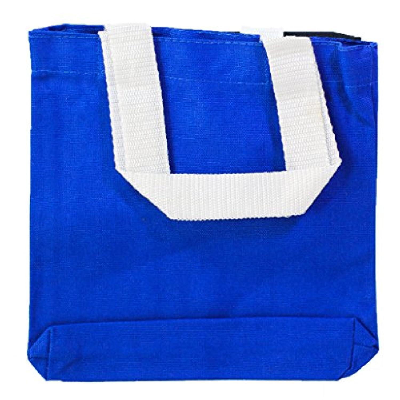 12パック環境に優しいミニコットンキャンバスギフトトートバッグ、パーティーバッグwithホワイトハンドルby shopinusa ブルー