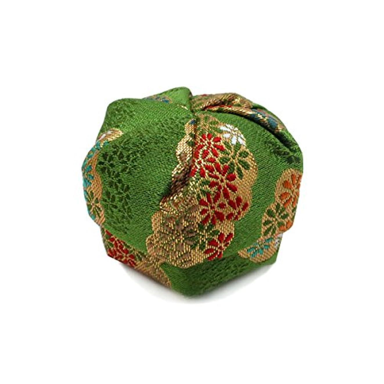 ビル間違えた伝統布香盒 緑系 紙箱入