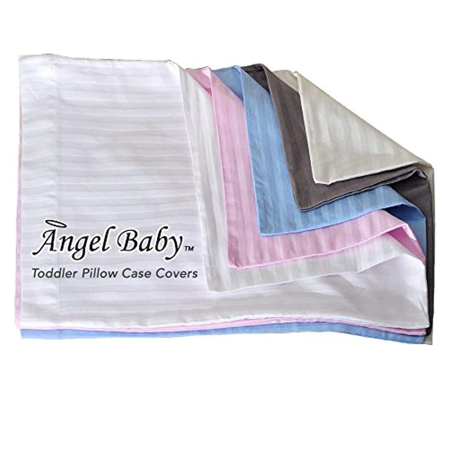 Angel Baby Toddler Pillow Case Cover - BLUE, 100% NATURAL Cotton Percale, 400 Thread Count Sateen Weave, Machine Washable, Tumble Dry - for Kids Bedding - (14 x 20.5) by Angel Baby