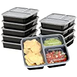 Romote 10-Pack 3 Compartment Food Meal Prep Storage Container,Reusable, Stackable, Microwave, Freezer Safe, BPA Free(36oz)