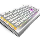 OJA アルミ合金フレーム ゲーミングキーボード 7色LED 9パターン 防水 LEDバックライト付き マルチライティング 標準英語配列104キー 人間工学設計 Windows XP/7/8/10/VISTA Mac OS Xなど対応 (白)