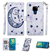 MGVV Huawei Mate 20 Case,[Moon Embossing] Leather Flip Wallet Case with Credit Card Holder & Wrist Strap Magnetic Closure Kickstand Compatible with Huawei Mate 20 - Blue