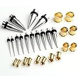 Piercingj ステンレス ボディジュエリー 拡張器 ボディピアス/ボディーピアス  各サイズ (2-12mm) 14ペア  5カラー (ステンレス色+ゴールド)
