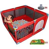 ベビープレイペン、折り畳み可能&コンパクト、フィットフロアマット、強く耐久性のあるプレイヤード、屋内屋外の家庭の安全ゲームのフェンス、ルームディバイダー (色 : 赤)