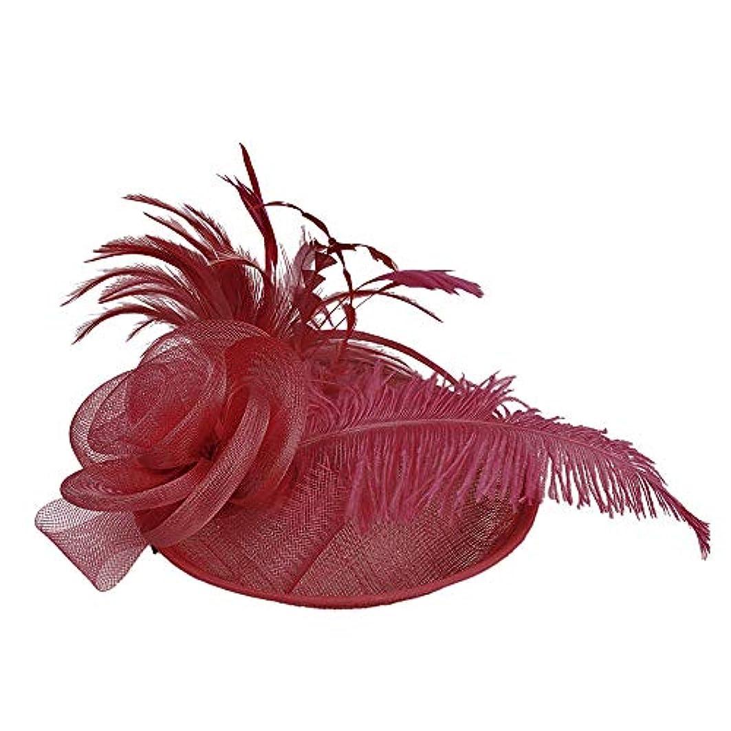 孤独な単なるモックMerssavo 英国スタイルのブライダル帽子、女性のエレガントな花の羽のベールの帽子ヴィンテージリネンティアラヘアアクセサリードレス帽子、5#