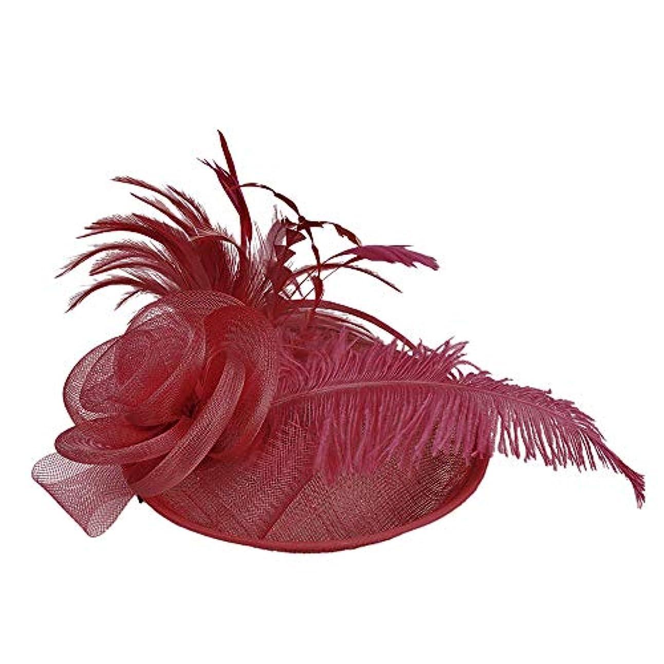 言い直す編集者エピソードMerssavo 英国スタイルのブライダル帽子、女性のエレガントな花の羽のベールの帽子ヴィンテージリネンティアラヘアアクセサリードレス帽子、5#