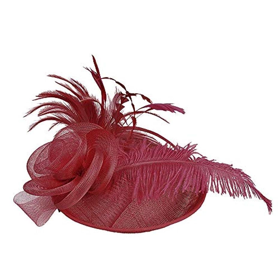 Merssavo 英国スタイルのブライダル帽子、女性のエレガントな花の羽のベールの帽子ヴィンテージリネンティアラヘアアクセサリードレス帽子、5#
