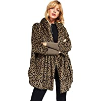 SweatyRocks Women Khaki Hooded Dolman Sleeve Faux Fur Cardigan Coat for Winter