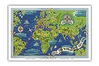 飛ぶ 世界 - R?seau A?rien Mondial (グローバルエアネットワーク) - ルート世界地図フライ - Planishpere - ビンテージな航空会社のポスター によって作成された ルシアン・ブーシェ c.1950 - アートポスター - 31cm x 46cm