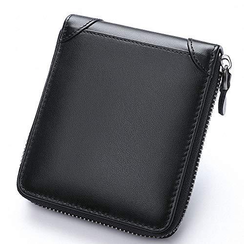 DSGUAN 財布 メンズ 二つ折り 本革 小銭入れ 防水人気 軽量 薄い 大容量 カード収納