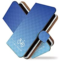 【KEIO】BASIO3 手帳型 ケース カバー チャリンコ じてんしゃ basio 3ケース basio 3カバー ベイシオ 手帳型ケース 手帳型カバー サイクリング [自転車 チャリ 青/t0686]