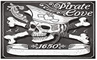 HiYash 海賊ドアマット海賊湾ロゴヴィンテージ1650ヴィンテージフレームスカルフローラルスワールハットハートヴィラマットオフィスカーペットスタディカーペット40x60cmフランネル生地