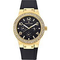 Timothy Stone Women's FAÇON-SILICONE Gold-Tone and Black Strap Watch