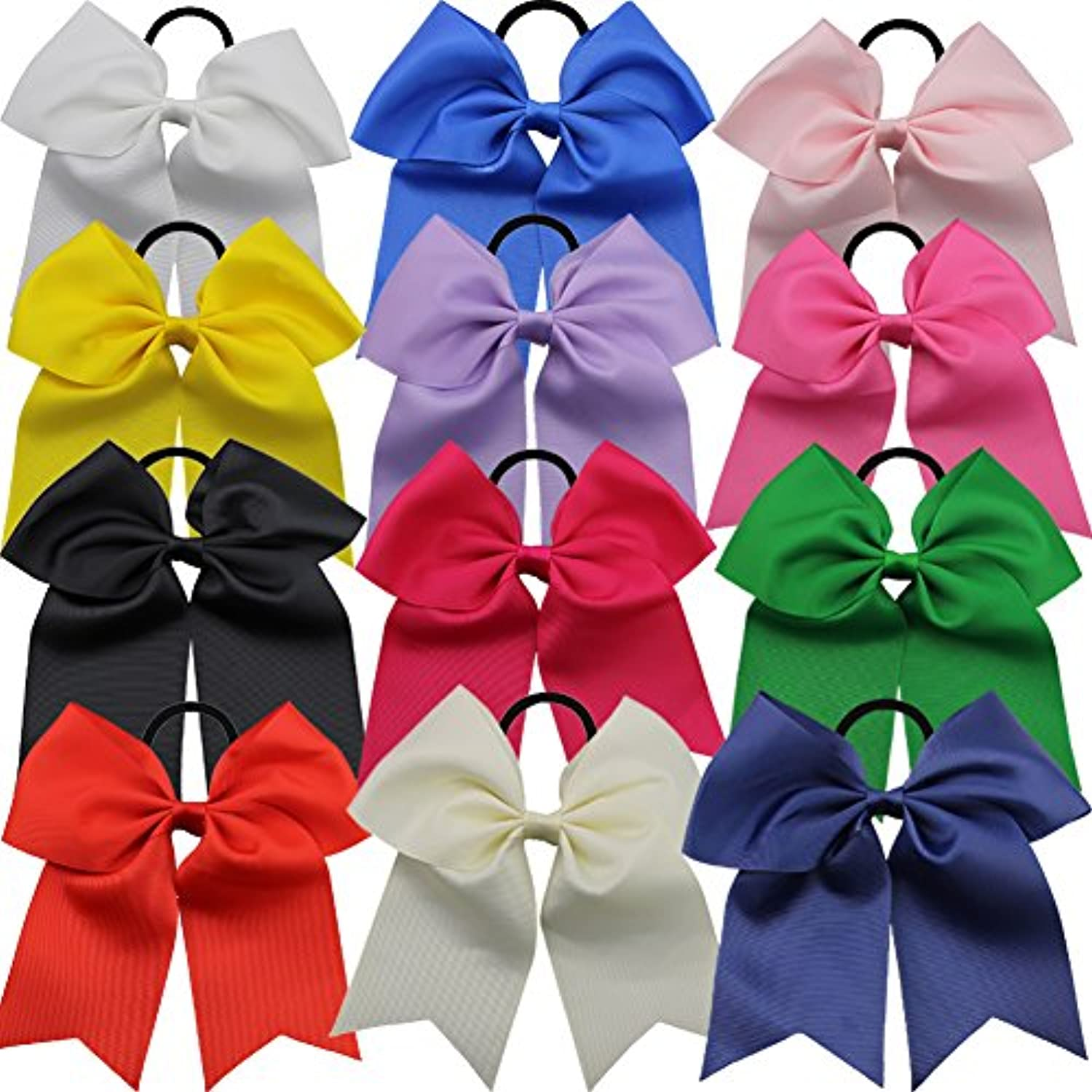 (12pcs 18cm Large Cheer Hair Bows With Ponytails) - QtGirl 12pcs 18cm Baby Girls Large Cheer Hair Bows Mix Colours with Ponytail Holder Elastic Hair Ties for High School College Cheerleading