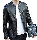 DeBangNi レザー ライダース ジャケット メンズ PU レザー コート 革ジャン シングル ブルゾン メンズブラックAN2