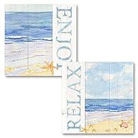 Tara Reedの可愛い水彩スタイル「リラックス」「楽しめる」ビーチショアセット、海岸の装飾、12 x 12インチの額なしペーパーポスター2枚 Two 12x12in Unframed Paper Posters