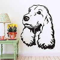 Ansyny コッカースパニエル取り外し可能な壁デカールかわいい子犬犬の寝室の壁画ビニールステッカーペットウォールステッカー用リビングルーム犬ヘッド壁画34 * 44センチ