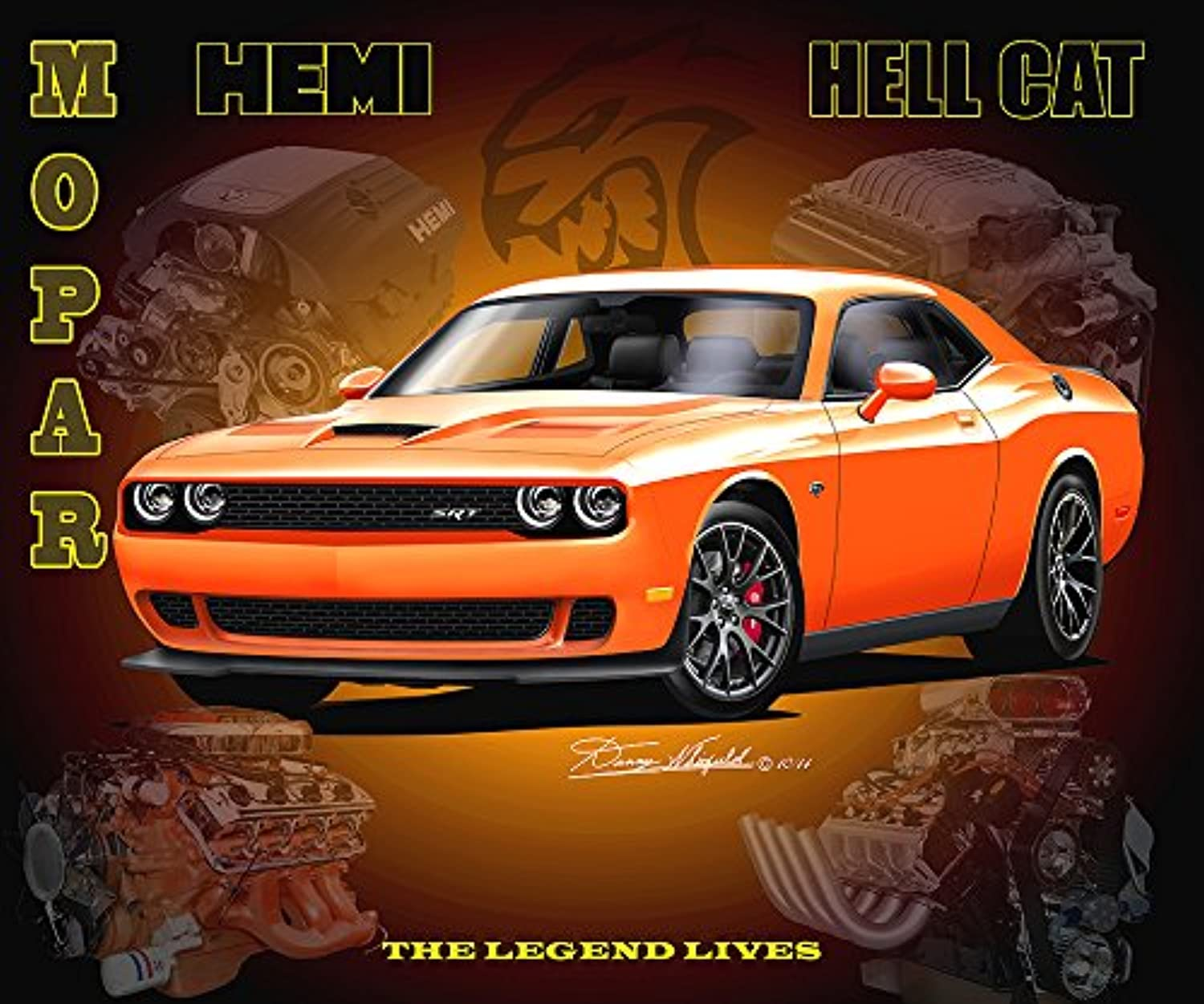 2015 Dodge Challenger Hell Cat – The Hemi Legend Lives – 公式ダニー?Whitfieldアート 16 x 20