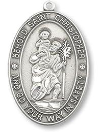 Saint Christopherピューター旅行メダルペンダント1インチon 24インチステンレススチールチェーン