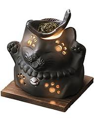 山下工芸 常滑焼 山房黒ネコ茶香炉 12×13×13cm 13045590