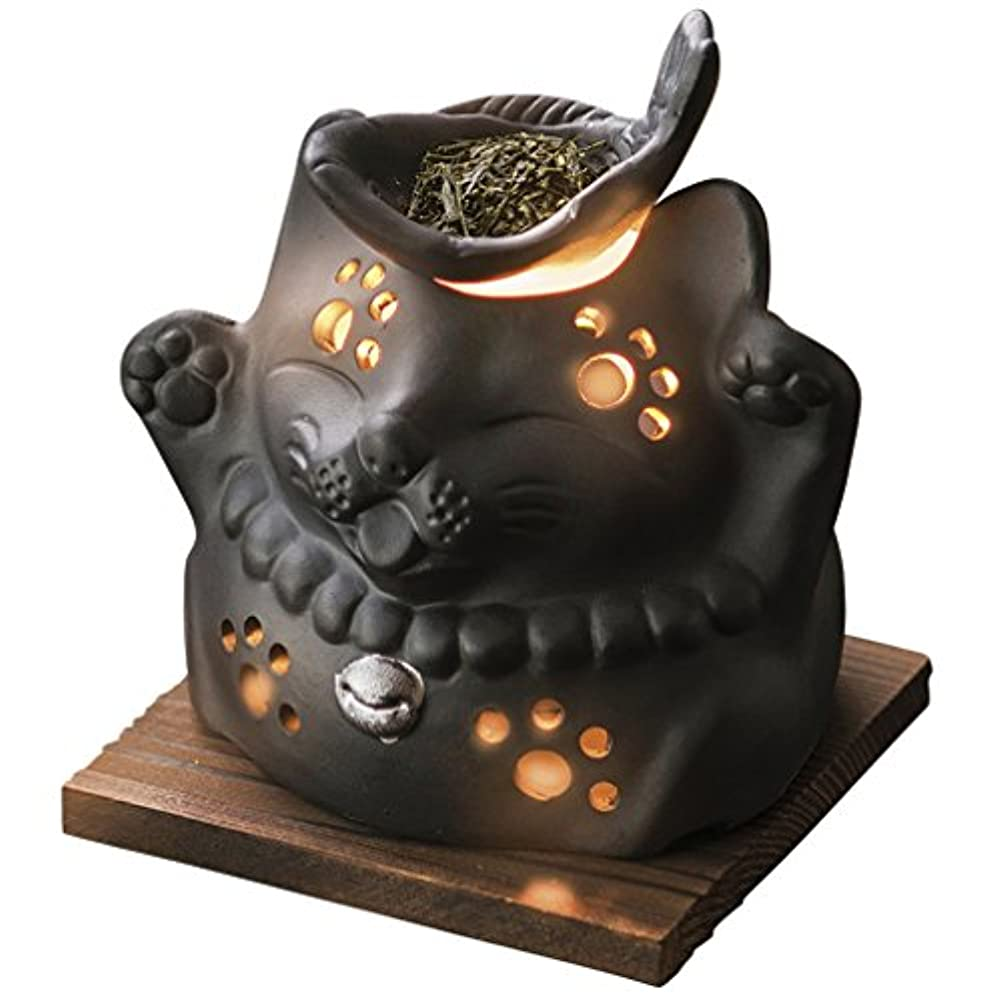 プレビュー祝福する喜ぶ山下工芸 常滑焼 山房黒ネコ茶香炉 12×13×13cm 13045590
