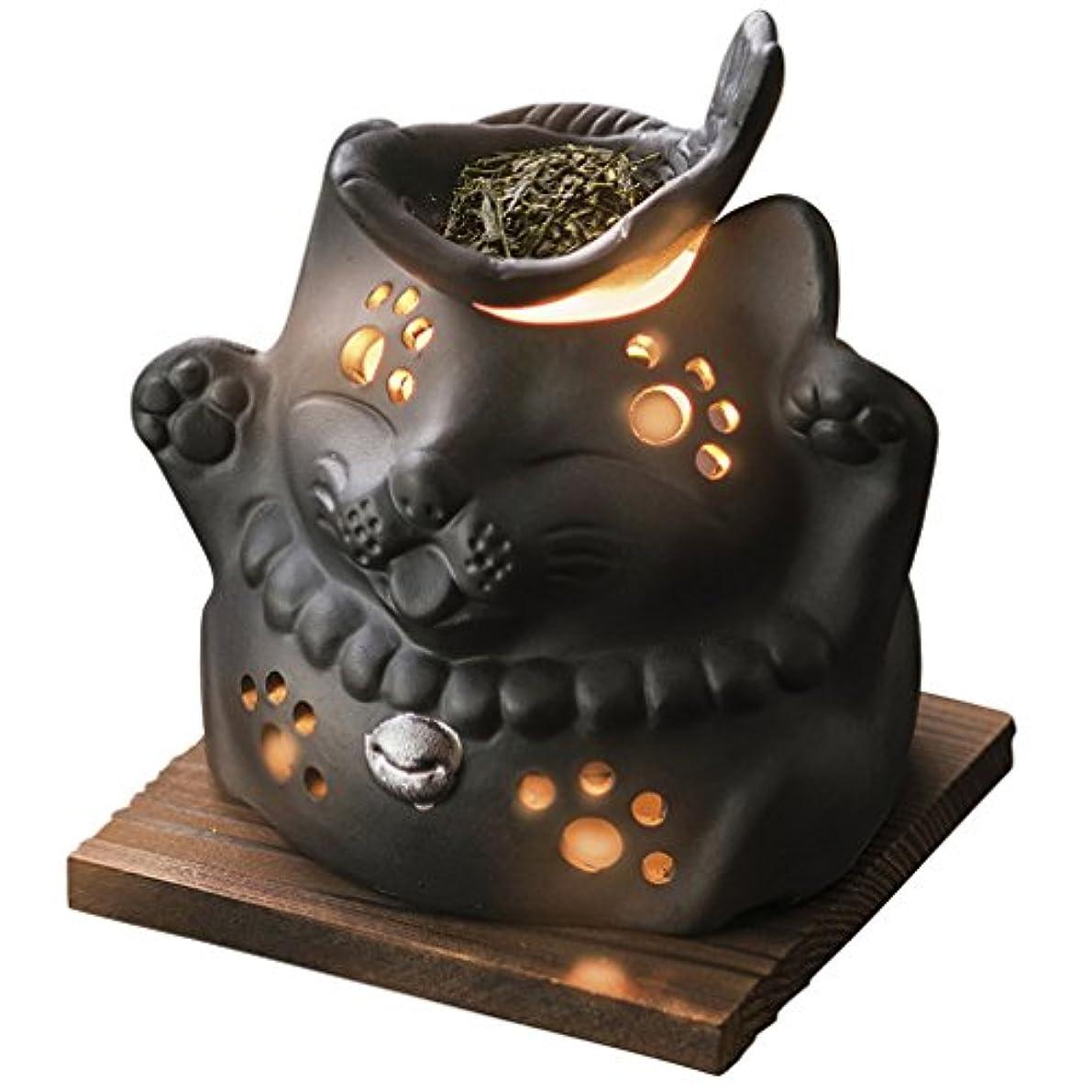 うなり声パトロール軽蔑山下工芸 常滑焼 山房黒ネコ茶香炉 12×13×13cm 13045590