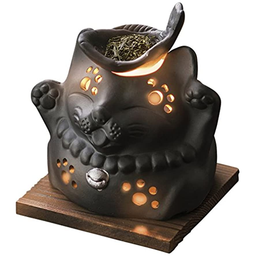 エントリ現実的傾く山下工芸 常滑焼 山房黒ネコ茶香炉 12×13×13cm 13045590