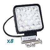 BRIGHTUM LED ワークライト 防水 作業灯 前照灯 12V 24V 長寿命 48W 角型 広角タイプ 4650LM (8)
