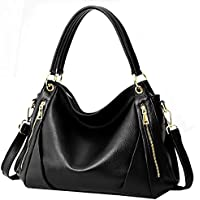 Heshe Women's Top Grain Leather Handbags Tote Top Handle Bags Shoulder Bag Satchel and Purse Cross Body Handbag