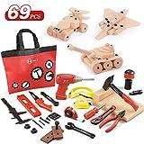 NextX 大工さんセット 組み立て 知育玩具 工具セット ツールおもちゃ おままごと おもちゃ 68PCS付き 収納袋付き