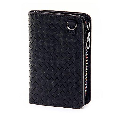 (ソラチナ) SOLATINA 二つ折り財布 [ホースレザーメッシュ加工] sw-36092 1.ブラック