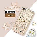 (ギジ)GIZEE iPhone 6 6s 専用 女性向け おしゃれ シリコン ケース キラキラ ダイヤモンド かわいい 3D デイジー 軽い 落下防止リング付き アイフォン 6s カバー クリア 4.7インチ (ゴールド)