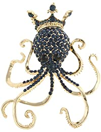 EVER FAITH Women's Austrian Crystal Lovely Octopus Animal Brooch