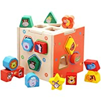 DD Shape Sorting Cube – クラシックWooden Toy with 12ピースカラーブロック幾何パズル、早期学習教育玩具Developmental for preschool幼児、3年Old and up Boys & Girls