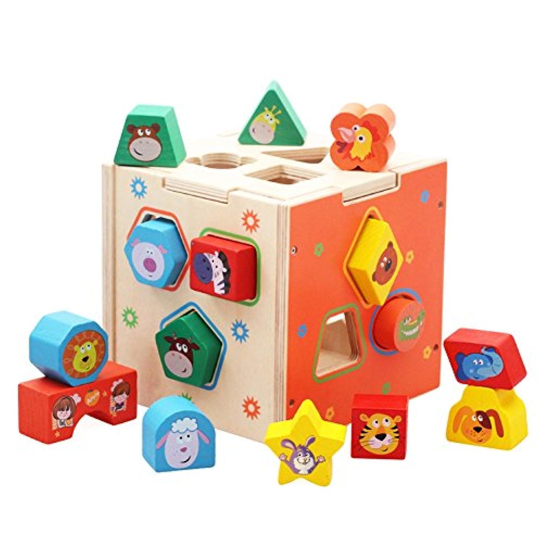DD Shape Sorting Cube – クラシックWooden Toy with 12ピースカラーブロック幾何パズル、早期学習教育玩具Developmental for preschool幼児、3年Old and up Boys & Girls