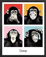 Monkey Chimp–ポップカラー。フレーム付きアートプリントポスター。カスタムMade Real木製モダンチャコールブラックフレーム(171/ 8x 211/ 8)
