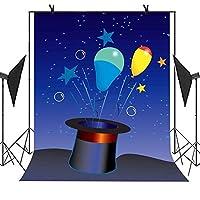 Meets 5x 7ft Cartoonテーマ写真バックドロップ帽子カラフルバルーン星ブルースカイ背景新生児子写真誕生日パーティーStudio小道具背景mt264