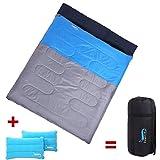 DesertFox 寝袋 封筒型 2人用 枕付き 軽量 解体 連結可能 アウトドア 登山 車中泊 丸洗い 最低使用温度0度 収納袋付き (ブルー 2.2kg)