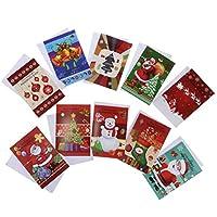 D DOLITY 10枚 メリークリスマス グリーティングカード 2タイプ選べ - B