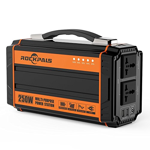 Rockpals ポータブル電源 正弦波 大容量 60000mAh/222Wh 250W 小型発電機 三つの充電方法 ソーラー充電 ACコンセント(250W 瞬間最大300W) キャンプ 車中泊 家用蓄電池 非常用電源