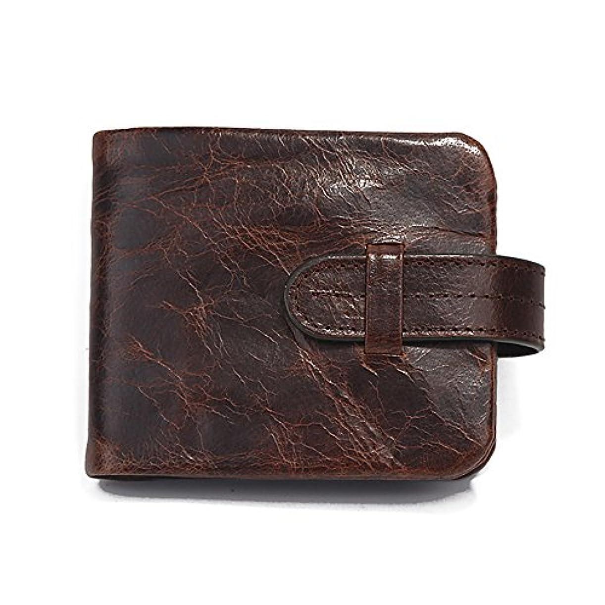 病気のオーバーフロープラグ(ハンフウ) HUMGFENG メンズ財布 二つ折り財布 メンズウォレット ラウンドファスナー カジュアル 本革 札入れ 小銭入れ カード入れ 男性 レトロ 軽量 柔らかい プレゼント