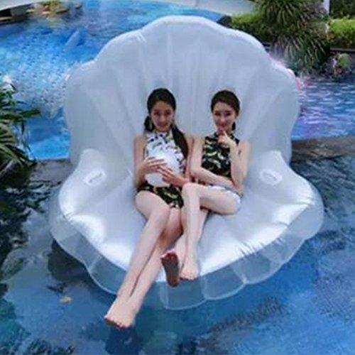 浮き輪 真珠風 特大 ホワイト シェル フロート マーメイドシェル 貝殻 大人用 パール 超可愛い 大型浮輪 インフレータブル 大人気 海 プール リゾート 真珠デザイン 浮輪 ボール 付き 大きいサイズ 170*130*110CM