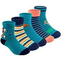 Boys Crew Socks 5 Pack Baby Toddler Dinosaur Striped Cotton Socks For Little Boys 2-8Y