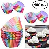 Muffin Cups Paper, Womdee Paper Baking Cupsシ郡afe and BPA Free, 1.96 x 2.68 x 1.2 inch Cupcake Liners Bright Colors, Disposable Cupcake Liners for Cake Balls, Muffins, Cupcakes and Candies, 100 Pack