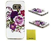 Trend Samsung Galaxy S6 Case Flower Printed Design Rubber TPU Gel Skin Silicone Case Soft Cover Protective For Samsung Galaxy S6 + Free Cleaning Cloth With Trend Line Trademark giftsNot Fit For Samsung Galaxy S6 Edge [並行輸入品]