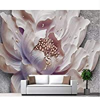 Mrlwy 壁画カスタマイズされた大気ステレオ写真壁画エンボス加工牡丹の花のソファの背景-280X200CM