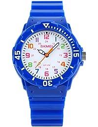アラビアウォッチ小さな石英ダイヤル簡単リーダー、子供子供、子供のギフト、青の時計をアナログ素敵な美しい女の子