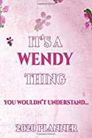 WENDY: Personalised Name Planner 2020 Gift For Women & Girls 100 Pages (Pink Floral Design) 2020 Weekly Planner Monthly Planner
