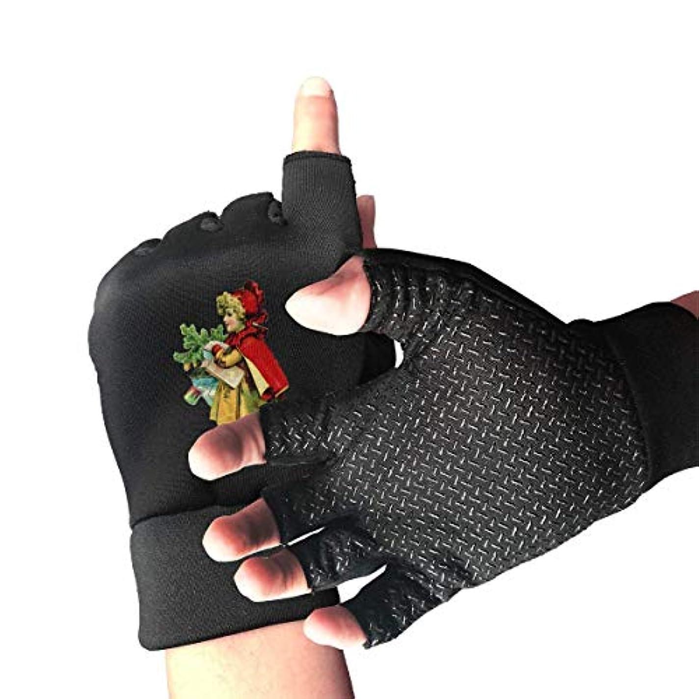 狂人前軽蔑Cycling Gloves Christmas Little Girl in Red Cape Men's/Women's Mountain Bike Gloves Half Finger Anti-Slip Motorcycle...